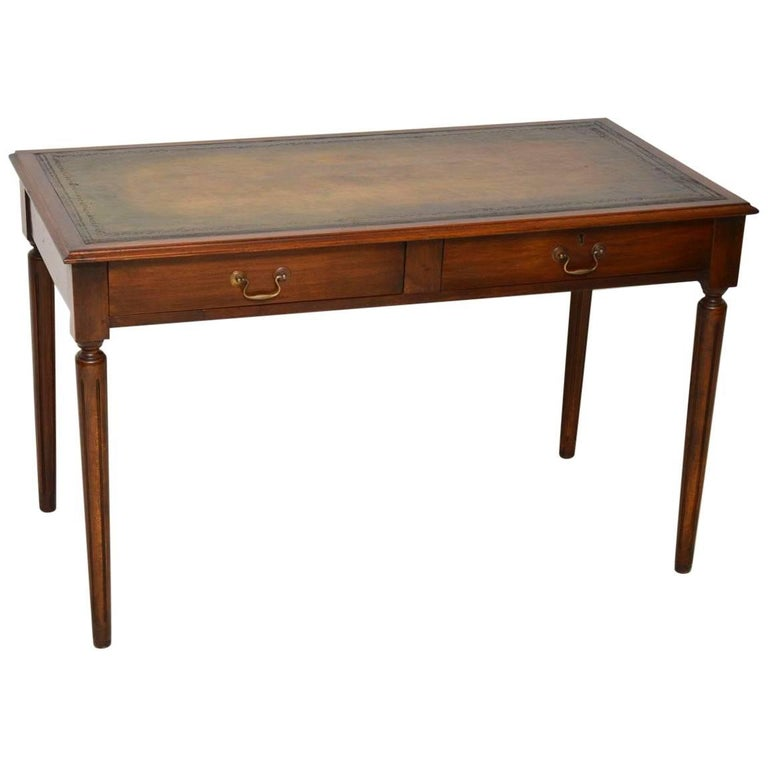 Antique Mahogany Leather Top Writing Table For Sale - Antique Mahogany Leather Top Writing Table At 1stdibs