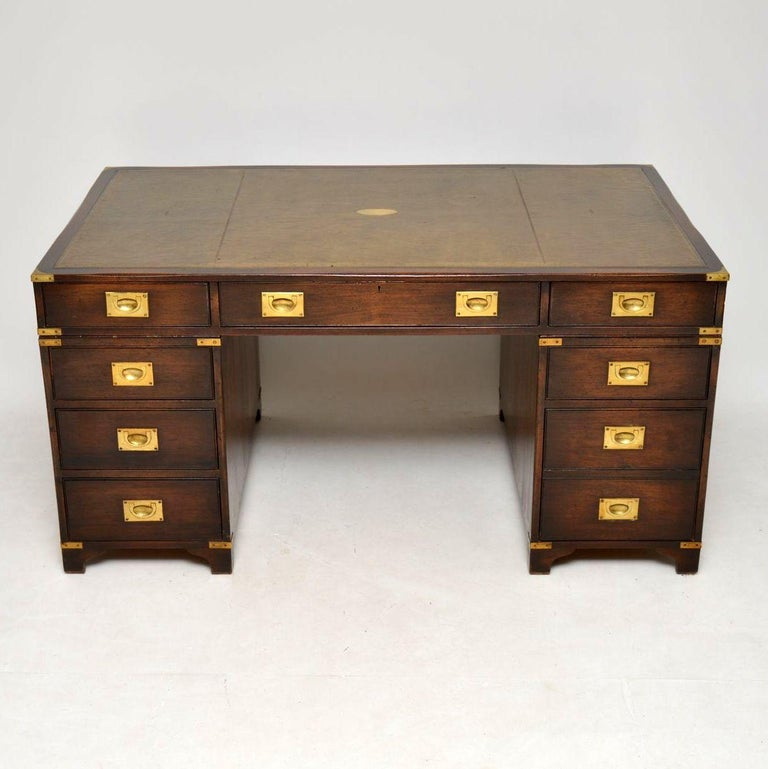 Fine quality antique mahogany military campaign partners desk in good  original condition & dating from circa - Antique Mahogany Military Campaign Partners Desk At 1stdibs