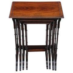 Antique Mahogany Nest of 4 Edwardian Tables, Early 20th Century