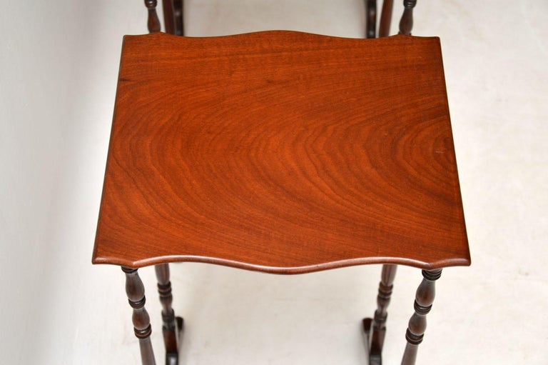 Antique Mahogany Nest of Four Tables For Sale 4