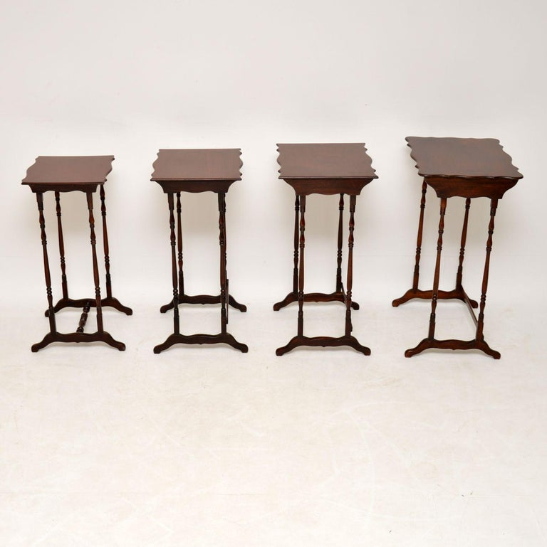 Antique Mahogany Nest of Four Tables For Sale 5