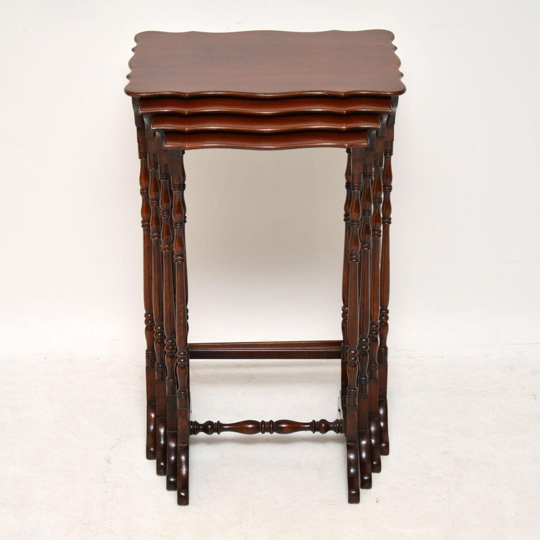Victorian Antique Mahogany Nest of Four Tables For Sale