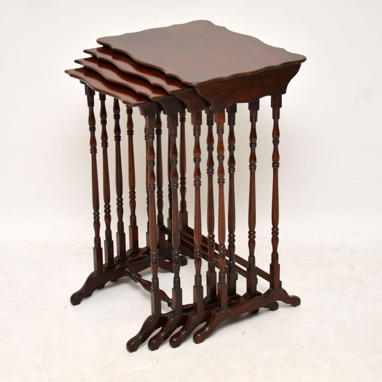 Antique Mahogany Nest of Four Tables In Good Condition For Sale In London, GB