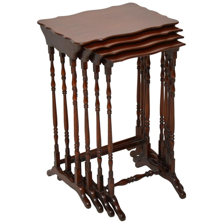 Antique Mahogany Nest of Four Tables For Sale
