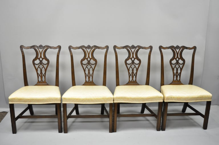 f69ebaaae5d3 Set of 4 antique mahogany pagoda carved Chinese Chippendale style dining  chairs. Listing includes pagoda