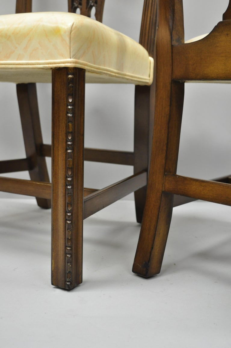 2e20ee86556e Antique Mahogany Pagoda Carved Chinese Chippendale Style Dining Chairs Set  of 4 In Good Condition For