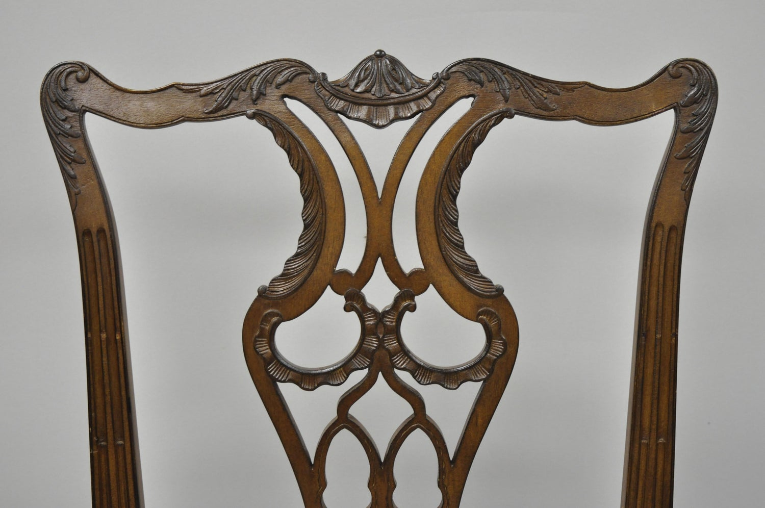34544f671c35 Antique Mahogany Pagoda Carved Chinese Chippendale Style Dining Chairs Set  of 4 at 1stdibs