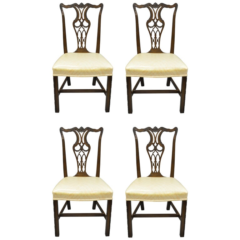 551b377d3716 Antique Mahogany Pagoda Carved Chinese Chippendale Style Dining Chairs Set  of 4 For Sale