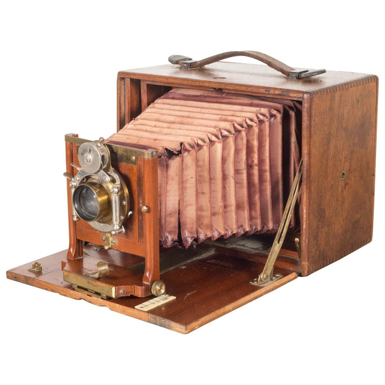 Antique Mahogany Premo Long Focus Folding Camera, circa 1895-1904 For Sale