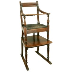 Antique Mahogany Rope Back Child's High Chair, Regency