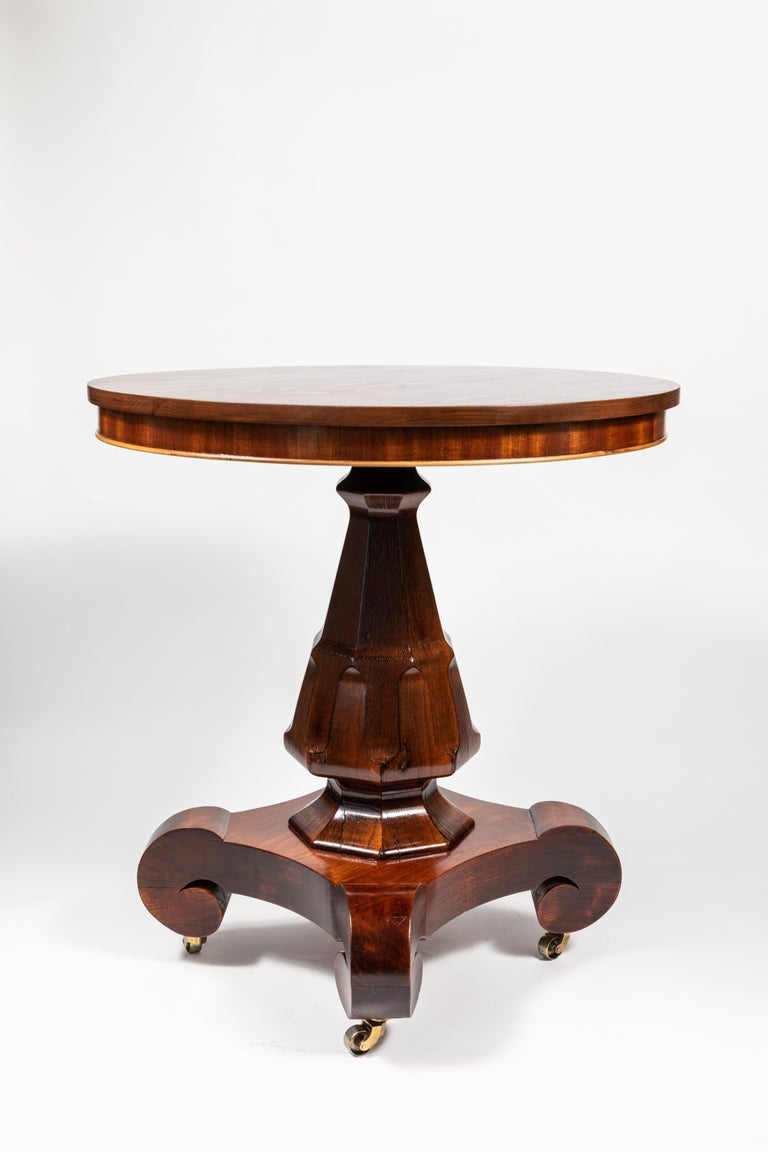 19th Century Antique Mahogany Round Pedestal Side Table For Sale