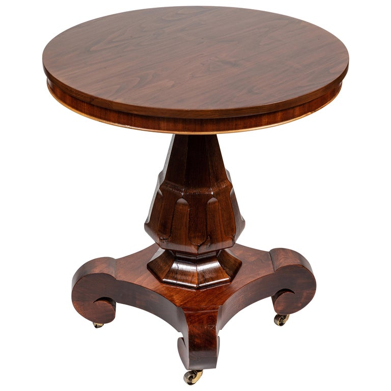 Antique Mahogany Round Pedestal Side Table For Sale