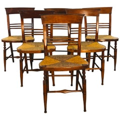 Antique Mahogany Rush Seat Dining Chairs, Set of 6