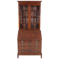 Antique Mahogany Secretaire, Bookcase, Antique Furniture, Scotland 1910, B2131