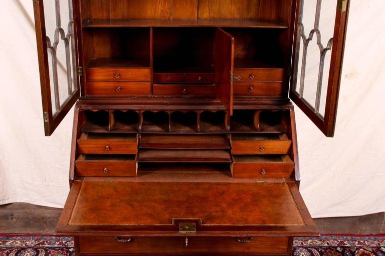 Antique Mahogany Secretary Bookcase with Mullion Glass Doors For Sale 1 - Antique Mahogany Secretary Bookcase With Mullion Glass Doors For