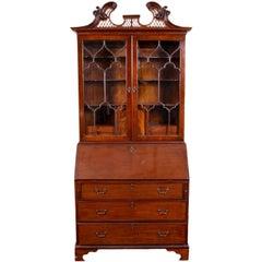 Antique Mahogany Secretary Bookcase with Mullion Glass Doors