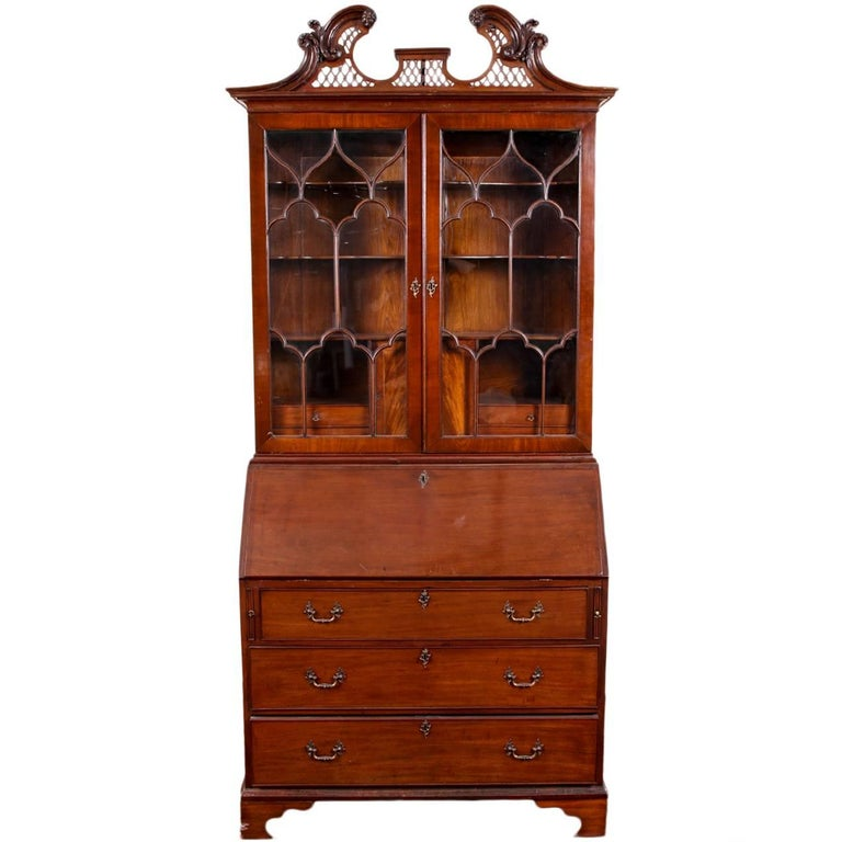 Swedish 1890s Rococo Style Painted Wood Tall Secretary