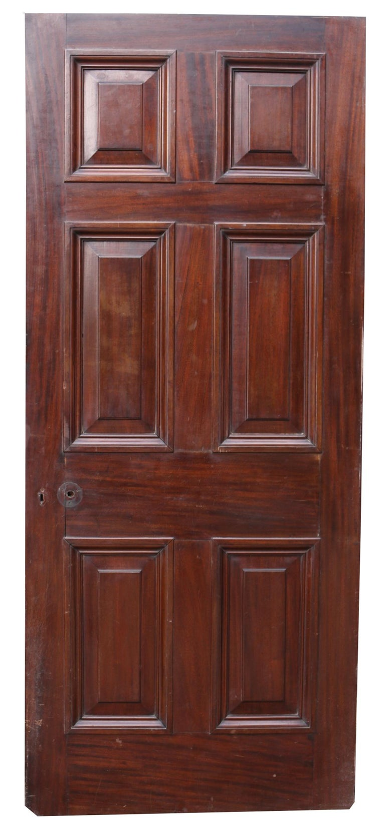 About  This beautiful door has raised and fielded panels and has a wax finish.  The hinges are present, there is no handle and the lock is not in working order.   There are no losses to the moulding.  Condition report  In excellent