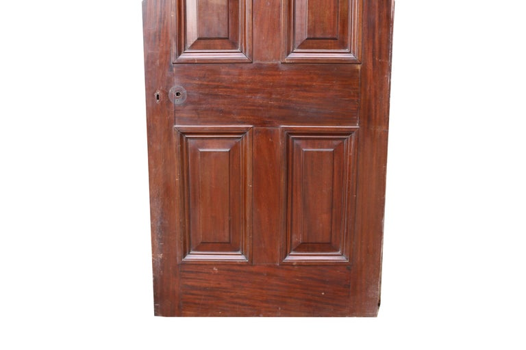 Antique Mahogany Six Panel Door In Fair Condition For Sale In Wormelow, Herefordshire
