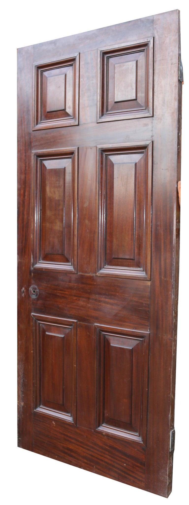 19th Century Antique Mahogany Six Panel Door For Sale