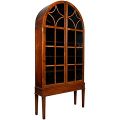 Antique Mahogany Tall Dome Shaped Vitrine / Display Cabinet, England, circa 1920