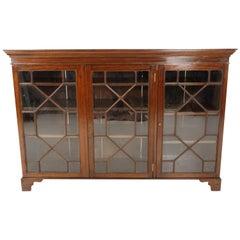 Antique Mahogany Three Door Bookcase Display Cabinet, Scotland 1920, B2409
