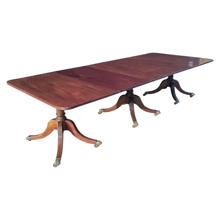 Antique Mahogany Three-Pedestal Dining Table For Sale