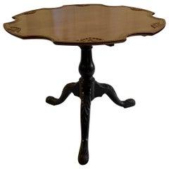 Antique Mahogany Tilt-Top Table with Scalloped Design, circa 1860-1870