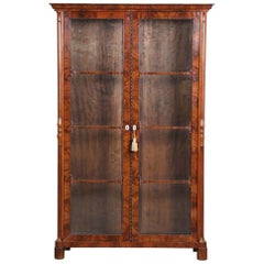 Antique Mahogany Veneered Bookcase, Biedermeier from the 19th Century