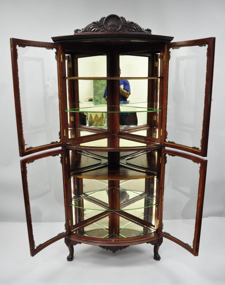 Antique Mahogany Victorian Bow Gl Corner Curio Cabinet Item Feature A Shell Carved Pediment