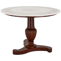 Antique Mahogany Wood and White Marble Circular Table