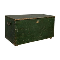 Antique Mail Trunk, English, Pine, Steamer, Carriage Chest, Edwardian