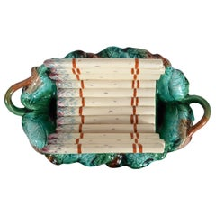 Antique Majolica Asparagus Platter