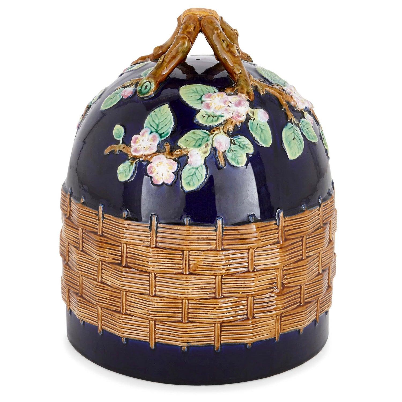 Antique Majolica Ceramic Cheese Keeper