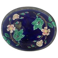 Antique Majolica Cobalt Wild Rose Bread Tray, English, circa 1880