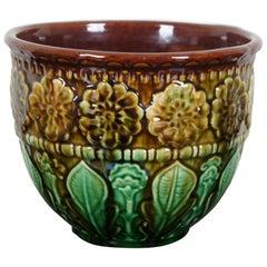 Antique Majolica Jardinière Planter Cachepot Pot Floral Marigolds