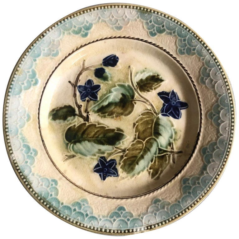 Antique Majolica Leaves and Blue Flowers Plate, circa 1890 For Sale