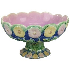 Antique Majolica Pottery Floral Compote, KLW, 20th Century