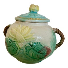 Antique Majolica Sugar Bowl, Water Lily, Turquoise, Green, Yellow, Rose