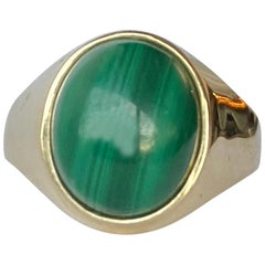 Antique Malachite and 9 Carat Gold Signet Ring