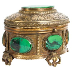 Antique Malachite and Gilt Bronze Lidded Jewelry Casket, 19th Century