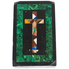 Antique Malachite and Marble Pietra Dura Paperweight, 19th Century