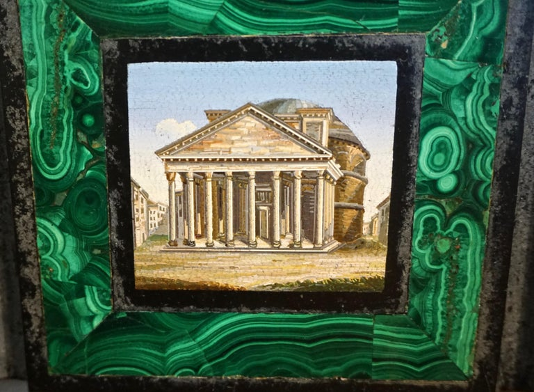 Grand Tour Antique Malachite Framed Italian Micro Mosaic of the Pantheon For Sale