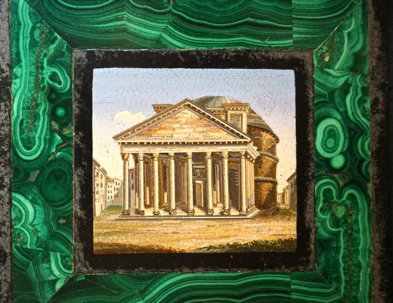 Antique Malachite Framed Italian Micro Mosaic of the Pantheon In Good Condition For Sale In San Francisco, CA