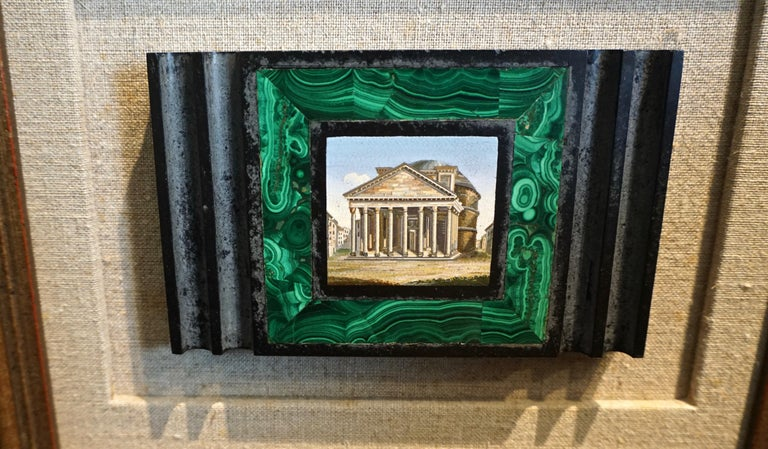 Late 19th Century Antique Malachite Framed Italian Micro Mosaic of the Pantheon For Sale