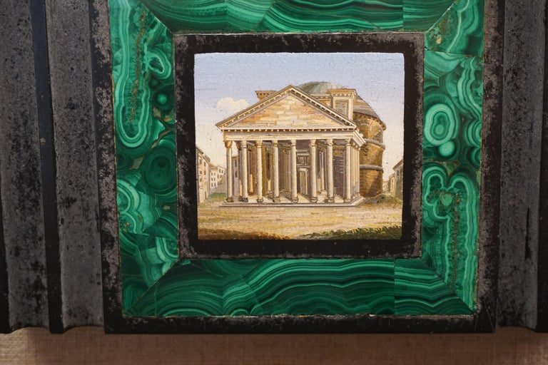Antique Malachite Framed Italian Micro Mosaic of the Pantheon For Sale 1