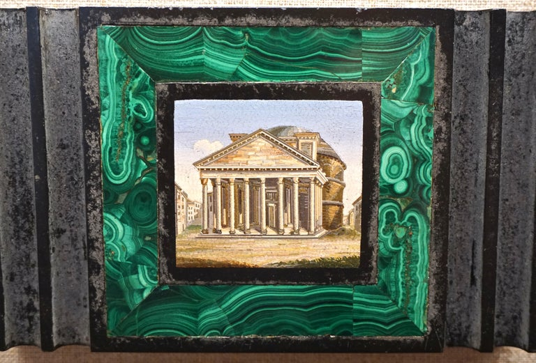 Antique Malachite Framed Italian Micro Mosaic of the Pantheon For Sale 2