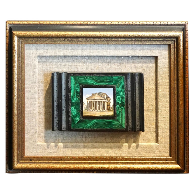 Antique Malachite Framed Italian Micro Mosaic of the Pantheon For Sale