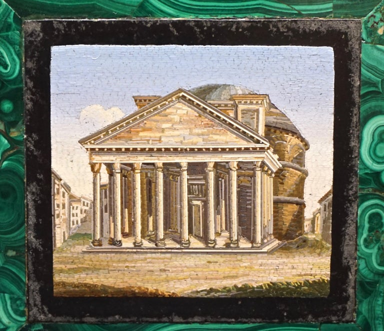 A fine framed Italian micro mosaic depicting the Pantheon, the micro mosaic of the finest quality set in a malachite border. The whole set in a wooden frame with linen backdrop, circa 1860.