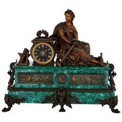 Antique Malachite, Gilt and Patinated Spelter Mantel Clock